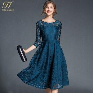 Image 1 - H han kraliçe sonbahar dantel elbise iş rahat ince moda o boyun seksi Hollow Out mavi kırmızı elbiseler kadın A line Vintage vestidos