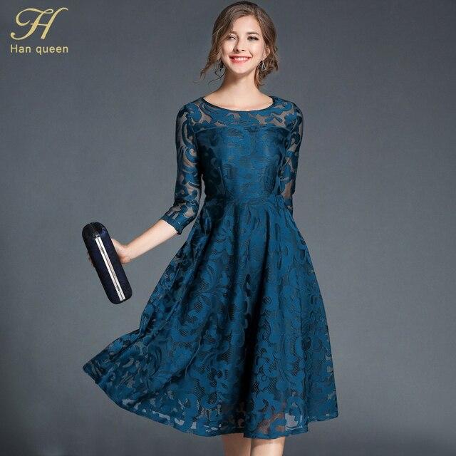 H han kraliçe sonbahar dantel elbise iş rahat ince moda o boyun seksi Hollow Out mavi kırmızı elbiseler kadın A line Vintage vestidos