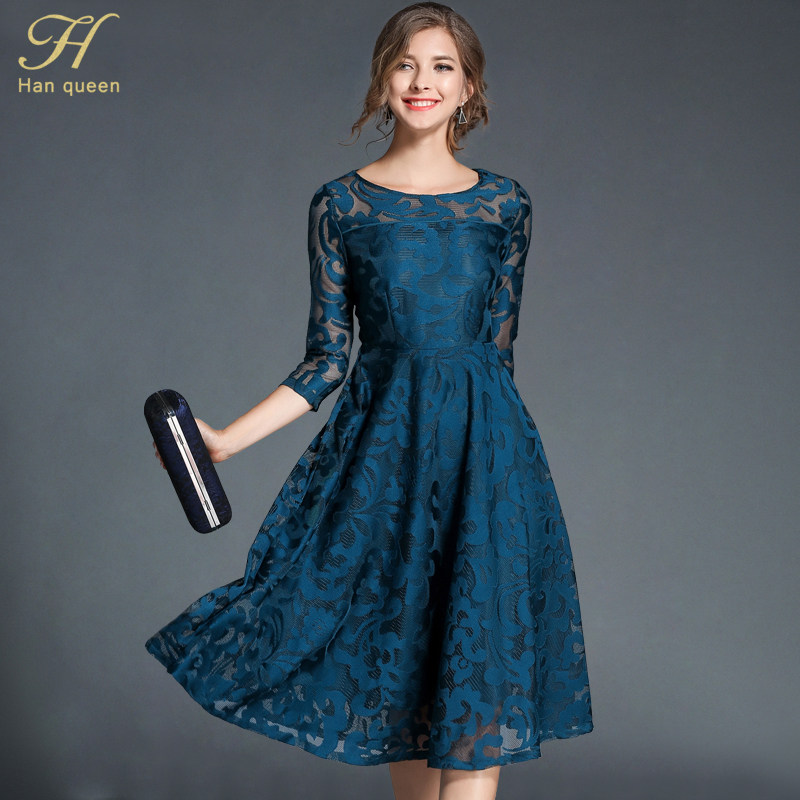H Han Queen Autumn Lace Dress Work Casual Slim Fashion O-neck Sexy Hollow Out Blue Red Dresses Women A-line Vintage Vestidos