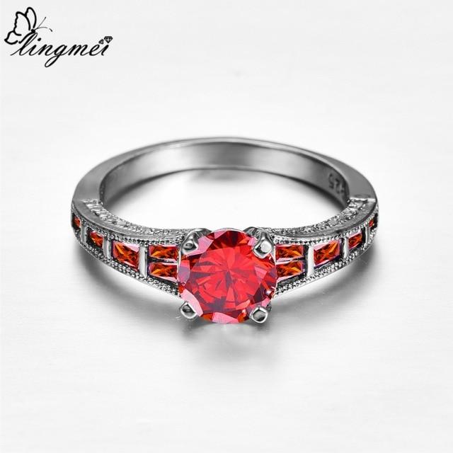 Lingmei Wholesale Wedding Bride Classic Jewelry RoundPurpleRed Zircon Silver Color Black GoldRing Size 6-9 5