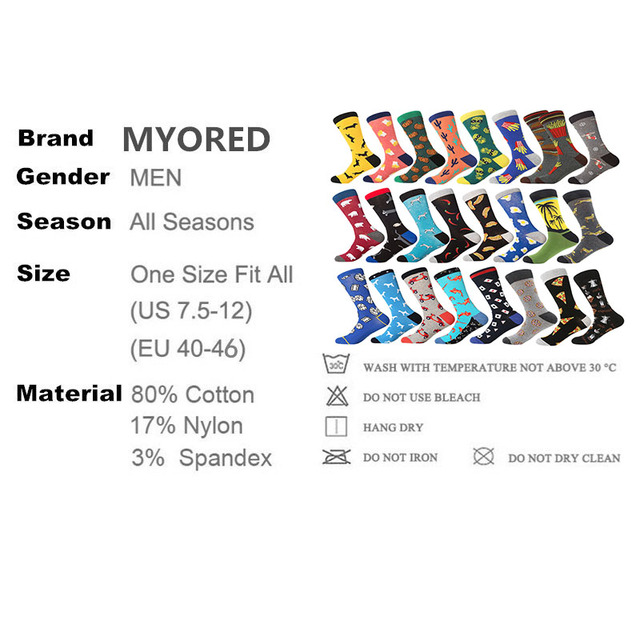 MYORED 1 pair drop shipping mens socks autumn winter business dress long socks cotton funny crew socks Calcetines de hombre