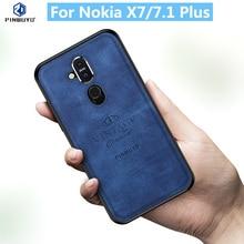 For Nokia X7 Original PINWUYO VINTAGE PU Leather Protective Phone Case for Nokia 7.1 Plus Shockproof Case protective pu pc case for nokia 525 520 black