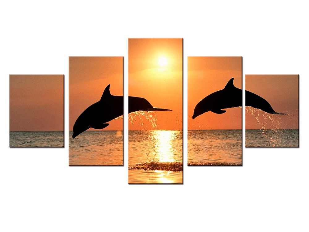 5 pieces / set New Canvas art Printings Animals Dolphins Painting Wall Art Home Decoration for home Canvas