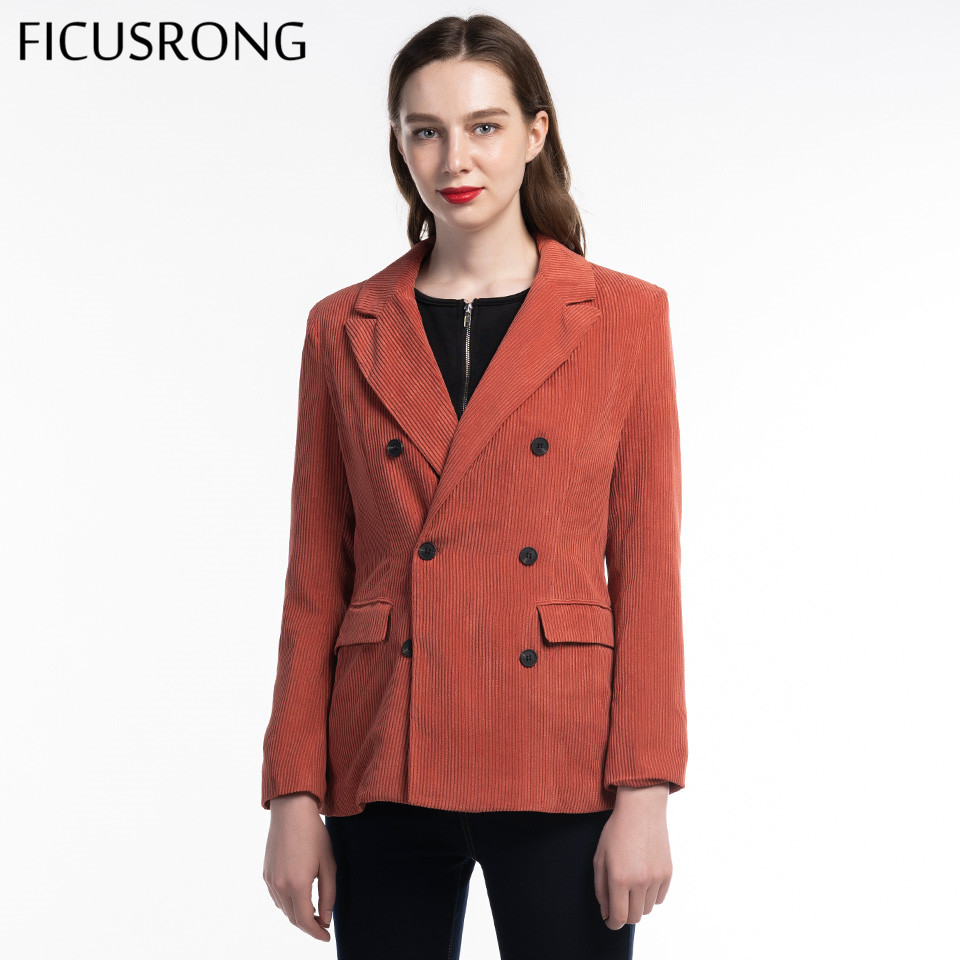 FICUSRONG New Autumn Women V Neck Slim Corduroy Blazer Coat Office Lady Fashion Coral Red Double Breasted Pocket Button Outwear