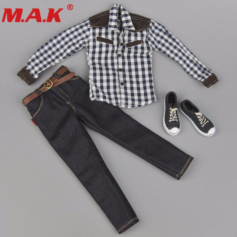 1:6 scale clothes youth male man boy plaid shirt jeans shoes suit set fit for 12 action figure dolls accessories 1 6 male clothes action figure accessoies black shirt