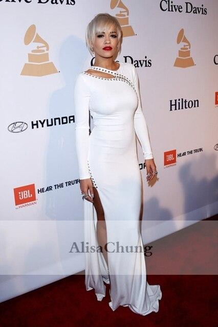 Rita Ora White Long sleeve Keyhole Celebrity Evening Gown Prom Dress ...