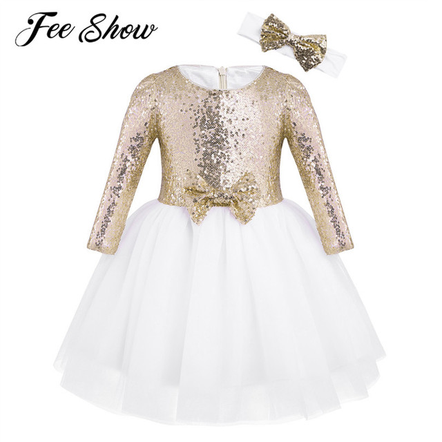 428252cbdd1 12 Months-8Y Kids Sequin Flower Girl Dress Long Sleeve Dress for Girl with  Princess