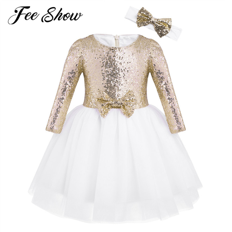 12 Months-8Y Kids Sequin   Flower     Girl     Dress   Long Sleeve   Dress   for   Girl   with Princess Headband Birthday Party Vestidos Infantis