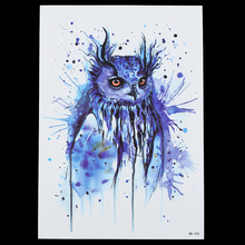 1 Sheet Mysterious Fake Blue Owl Pattern Drawing Design Tattoo HB255 Waterproof Temporary Women Men Body Back Art Tattoo Sticker