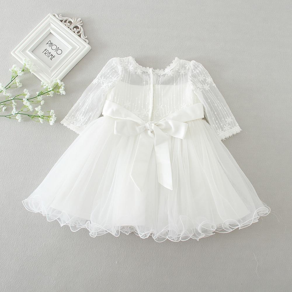 white baby long sleeve birthday wedding dress toddler girl baptism