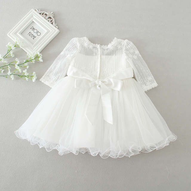 818b7fa7ca6ae US $19.66 18% OFF|White Baby Long Sleeve Birthday Wedding Dress Toddler  Girl Baptism Dress Baby Girl 1 Year Dresses for Girls Kids Party-in Dresses  ...