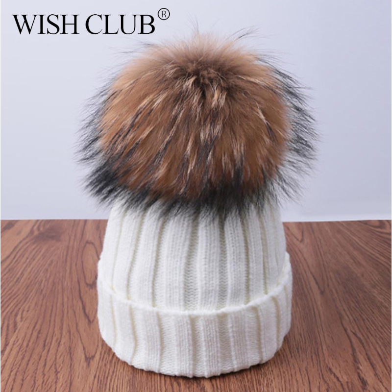 9b090530f5f WISH CLUB Fashion Winter Hat For Women Solid Knitted Women s Hat Cotton Skullies  Beanies Winter Cap Warm Pom Poms Hats For Girl