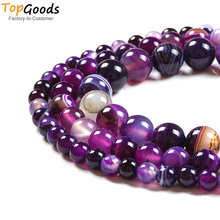 TopGoods Natural  Stone Beads Purple Striated Agate Round Loose Gemstone DIY Women Bracelet 4 6 8 10 12mm for Jewelry Making