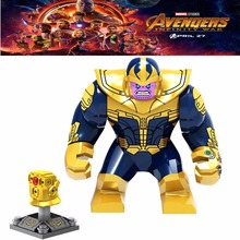 Single Marvel Avengers 3 Infinity War Thanos Infinity Gauntlet Chrome Golden With 6 Gems figur byggstenar leksak för barn