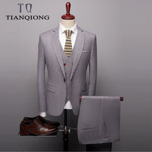 Gray Black Suits for Men 2019 Luxury Brand Slim Fit Men's Suits High Quality 3 PCS Groom Suit Wedding Jacket Pants Waistcoat(China)