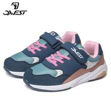 QWEST брендовые кожаные стельки дышащий арки детская спортивная обувь Hook & Loop Размеры 31-37 детские кроссовки для девочки 91K-EW-1213
