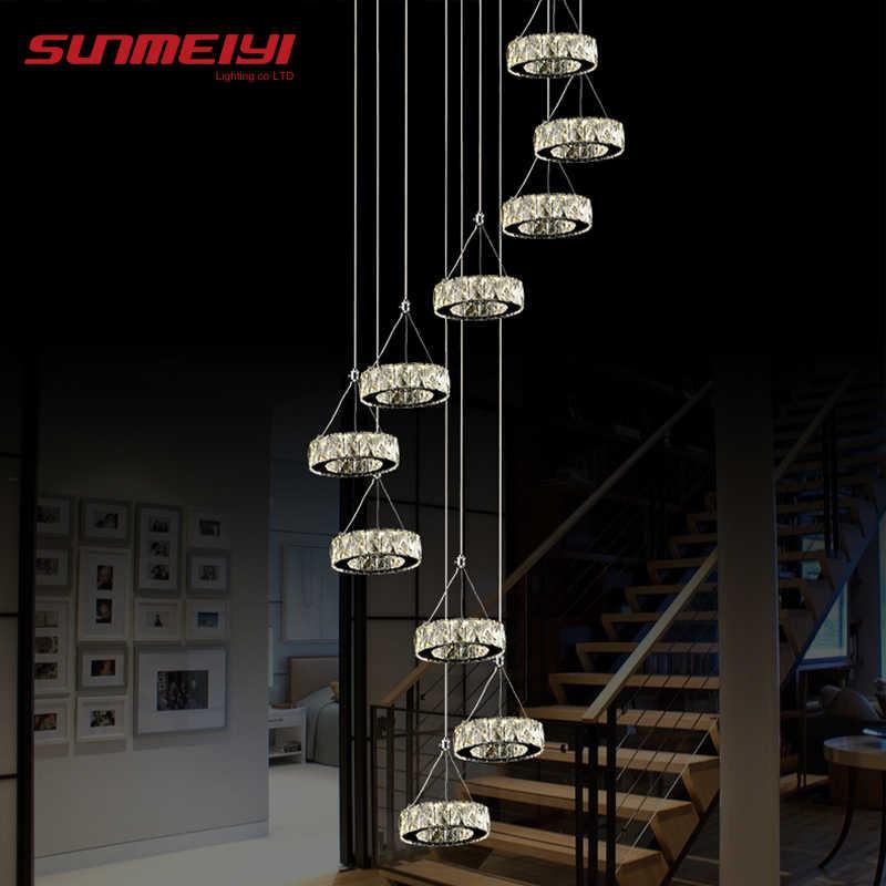 Современный длинный светодиодный светильник-спираль для гостиной, хрустальные люстры, освещение для помещений, светильник для лестницы, витрина для спальни, гостиничного зала
