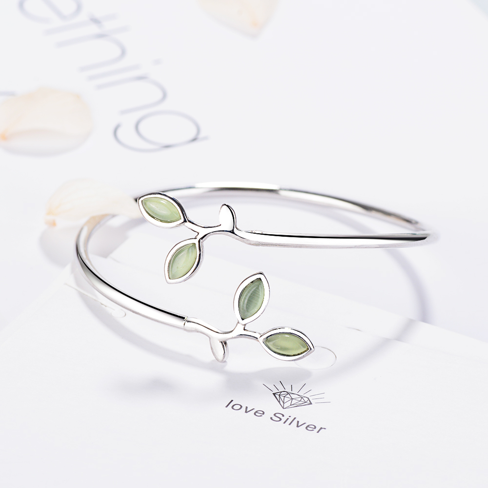 MEEKCAT 925 Sterling Silver Enamel Green Olive branch Leaves Open Cuff Bracelets & Bangles For Women Fashion Jewelry