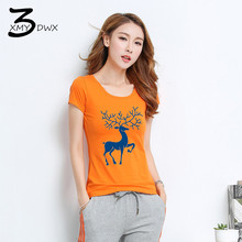 XMY3DWX Fashion women Summer is tight Small deer printed short sleeve T-shirt/Women's round collar cotton casual T-shirt S-XXL