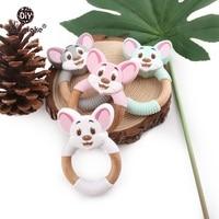 Let's Make Beech Wooden Mouse Teether Rattle 5pc BPA Free Wooden Teething Nursing Bracelet Molar Teeth Toy Nursing Pendant
