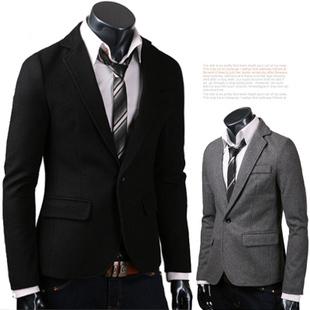 2014 del juego del resorte un botón de lana delgado moda negro hombres de la chaqueta de ropa prendas de vestir exteriores