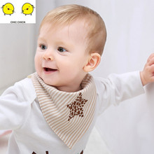 Colored cotton baby triangular scarf saliva towel embroidery double-layer pure pocket adjustable size