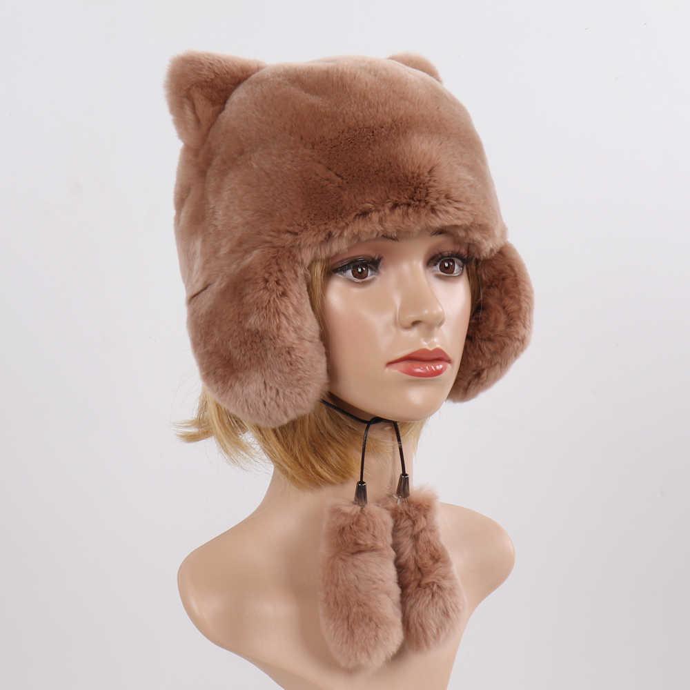 Yeni Moda Rus Kadınlar Doğal Rex tavşan kürk şapka Kış Kız Sıcak Hakiki Kürk Bombacı Şapka Tam Pelt Gerçek Rex Tavşan Kürk kap