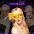 Lírio moda elegent Ouro Brilhando Máscara Feminina Máscara do Dia Das Bruxas Adereços de Casamento Masquerade Mardi Gras LF-M-00019