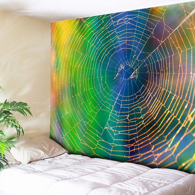 Indian Wall Tapestry Hippie Wall Hanging Psychedelic Decoration Spider Web Tapisserie Murale Decorative Wall Blanket Tarpaulin image