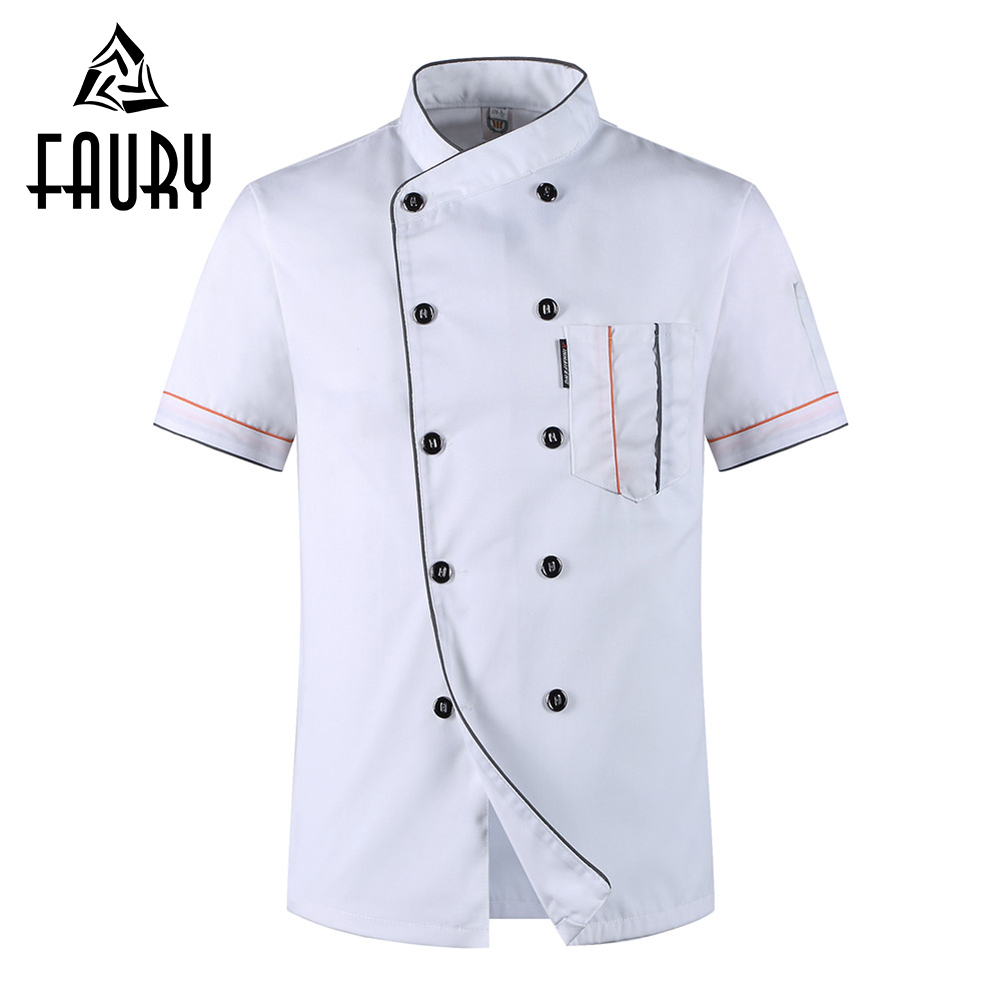 Men Short Sleeve Double Breasted Chef Jackets Summer Breathable Casual Catering Restaurant Hotel Work Wear Uniform Tops Aprons