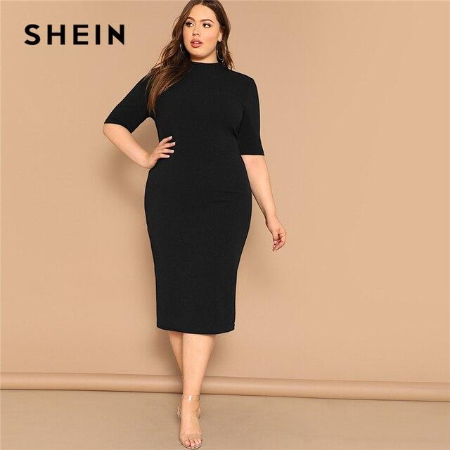 SHEIN Classy Black Plus Size Mock-neck Solid Pencil Slim Dress Women Spring Office Lady Bodycon Basics Plus Size Long Dresses