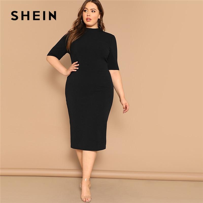 ed157fd08b SHEIN Classy Black Plus Size Mock-neck Solid Pencil Slim Dress Women Spring  Office Lady Bodycon Basics Plus Size Long Dresses