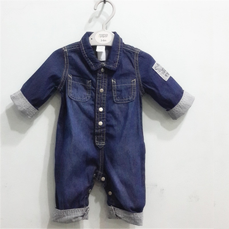 2017 Baby Boys Clothes Rompers Jeans Long Sleeve Overalls Romper Infant Newborn Autumn Spring Denim Cardigan Climbing Clothing baby rompers 2016 spring autumn style overalls star printing cotton newborn baby boys girls clothes long sleeve hooded outfits