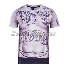 tシャツハーレークインジョーカータトゥー印刷長袖男性シャツ 自殺分隊男性 3D プリント