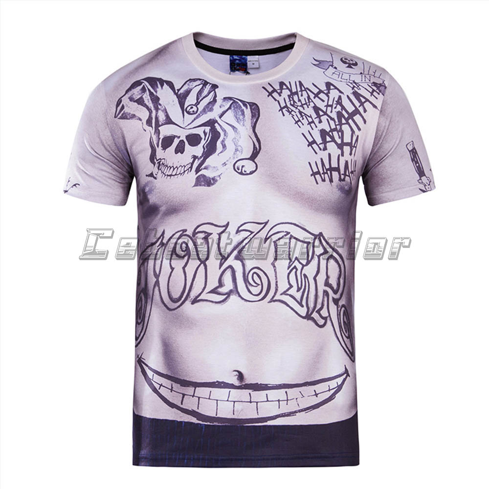 Nauji savižudybių komandų vyrai 3D spausdinti marškinėliai Harley Quinn juokdarys Tatuiruotės nusišypsantys vyriški marškiniai Boomerang sexy unisex loose Tee