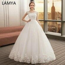 LAMYA 2019 High Quality Off The Shoulder Wedding Dresses Ball Gowns Lace Up Bride Dress Plus Size Vestidos De Novia