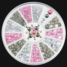 Transparent Gray pink clear 3Colors Multi-size Nail Art 3D Lot Glitter Rhinestone Cute DIY Accessories Wheel for Nail Gel Polish(China)
