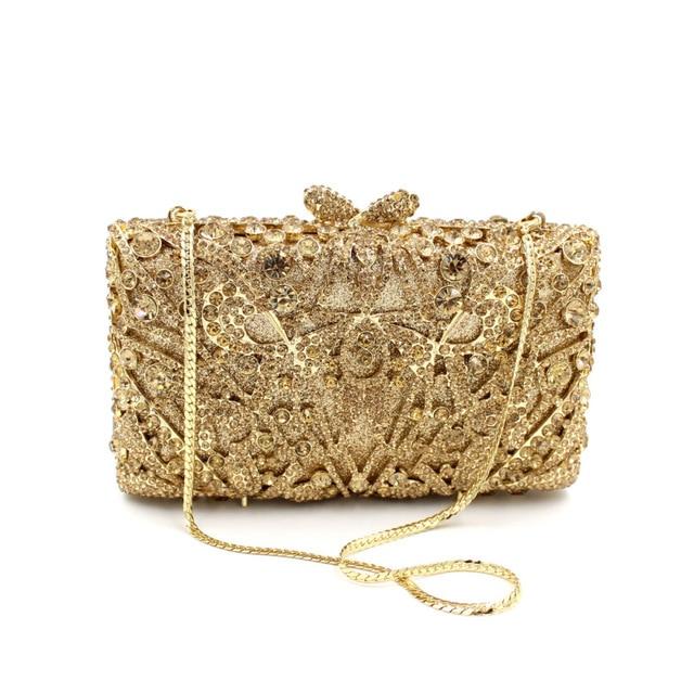 7266ded93 Famoso Designer Saco de Marca de Embreagem Das Mulheres Pequeno Tamanho  Caixa Dourada Bolsa de Cristal