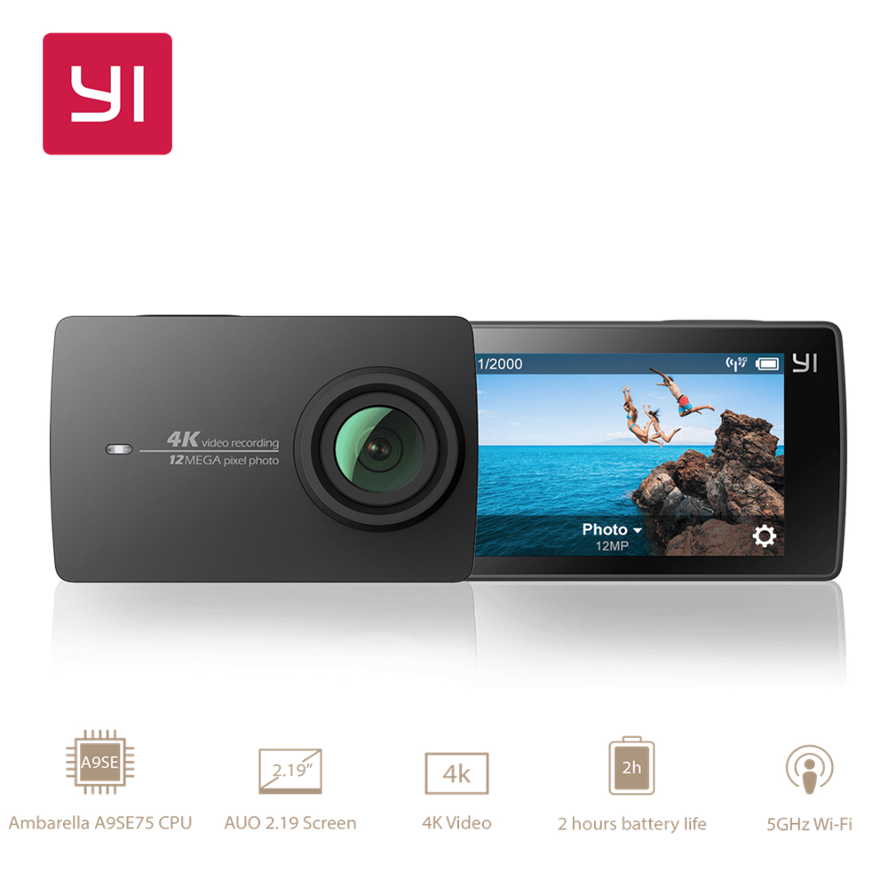 YI 4K Action Camera 2.19 EIS LDC Screen Ambarella A9SE Cortex-A9 ARM 12MP CMOS WIFI International Version [hk stock][official international version] xiaoyi yi 3 axis handheld gimbal stabilizer yi 4k action camera kit ambarella a9se75 sony imx377 12mp 155‎ degree 1400mah eis ldc sport camera black