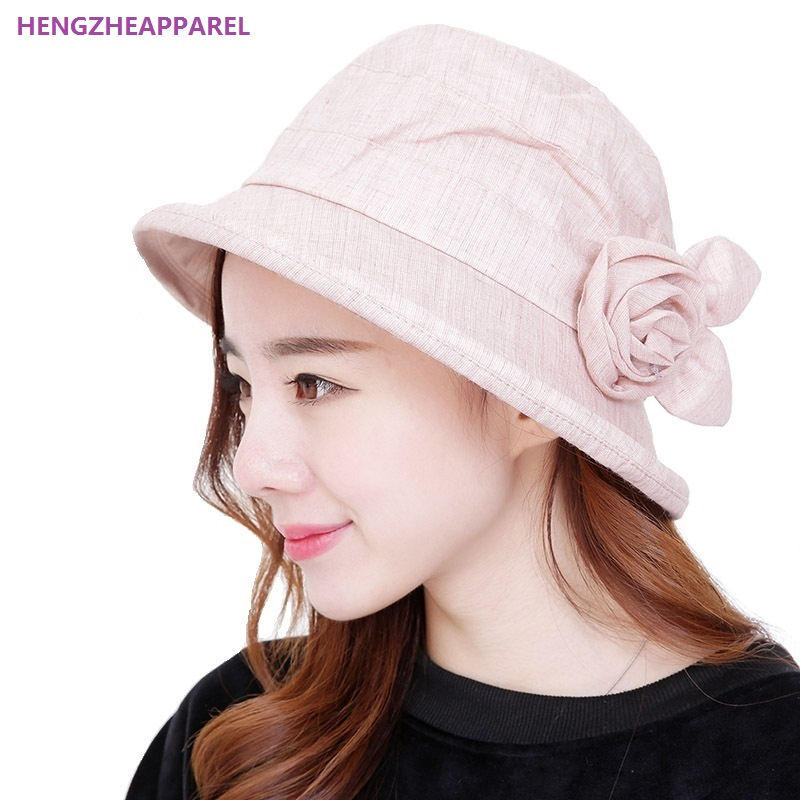 34030d9b6e2 Fashion New Spring Summer Women Sun Hats With One Flowers Detachable Cloth  Cap Girl Beach Hats Holiday Seaside Female Bucket Hat