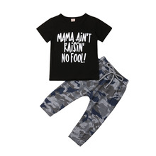 Toddler Kids Baby Boys Clothes T Shirt Short Sleeve Tops Camouflage Pants Tracksuit Outfit Setset