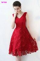 Lindo Lace Red Cocktail Dresses 2017 Nova Sexy Decote Em V Com Zíper Na Altura Do Joelho-Lingth Regresso A Casa Vestidos de Cocktail Curto Vestido de Festa Em estoque