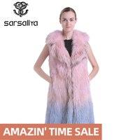 SARSALLYA classic Fashion fox fur vest,Winter real fur vest women,Knitted fur vest women, Raccoon Dog Fur vest