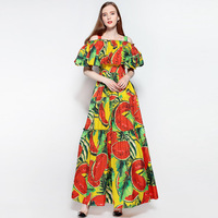 Runway Dress 2017 Women Off Shoulder Elegant Vintage Ladies Evening Party Club Maxi Ukraine Fall Sexy Dresses Long Cute Vestidos