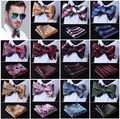 Paisley Floral 100%Silk Jacquard Woven Men bow tie, Wedding Butterfly Self Bow Tie Pocket Square Handkerchief Set Hanky Suit #D7