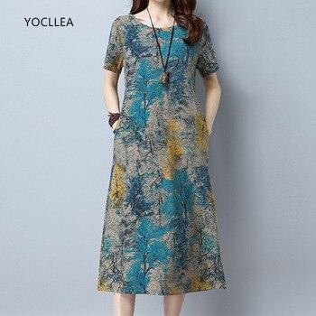 Βαμβακερό λινό καλοκαιρινό φόρεμα γυναικείο