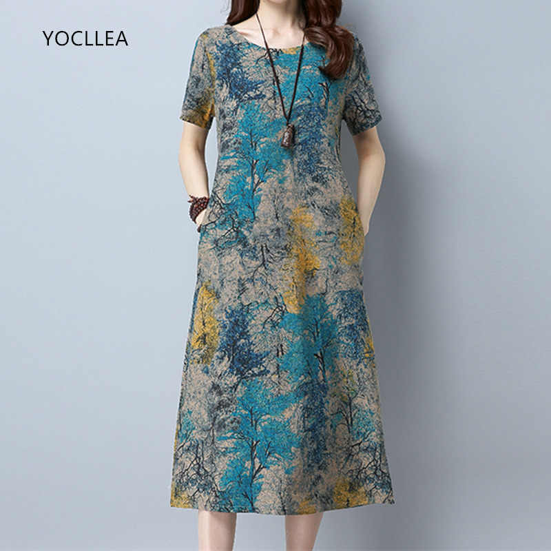 2019 Cotton Linen Summer Dress Women Loose Plus size Casual Dress OL work Wear vintage Print beach Sundress dresses vestidos