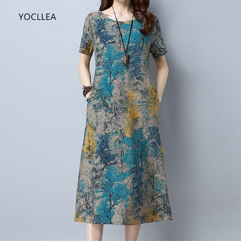 2018 baumwolle Leinen Sommer Kleid Frauen Lose Plus größe Casual Kleid OL arbeit Tragen vintage Print strand Sommerkleid kleider vestidos