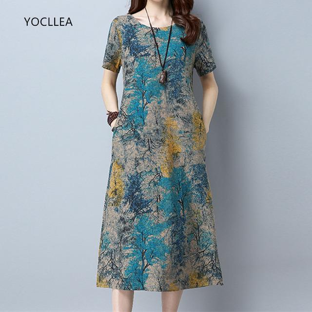 2019 Cotton Linen Summer Dress Women Loose Plus size Casual Dress OL work Wear vintage Print beach Sundress dresses vestidos