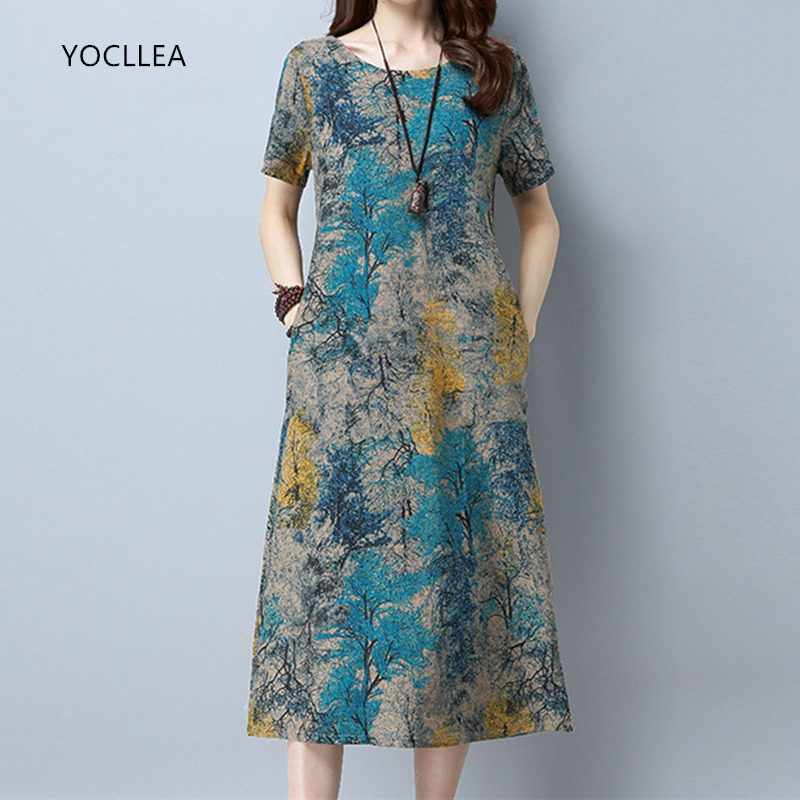 2020 Cotton Linen Summer Dress Women Loose Plus Size Casual Dress OL Work Wear Vintage Print Beach Sundress Dresses Vestidos